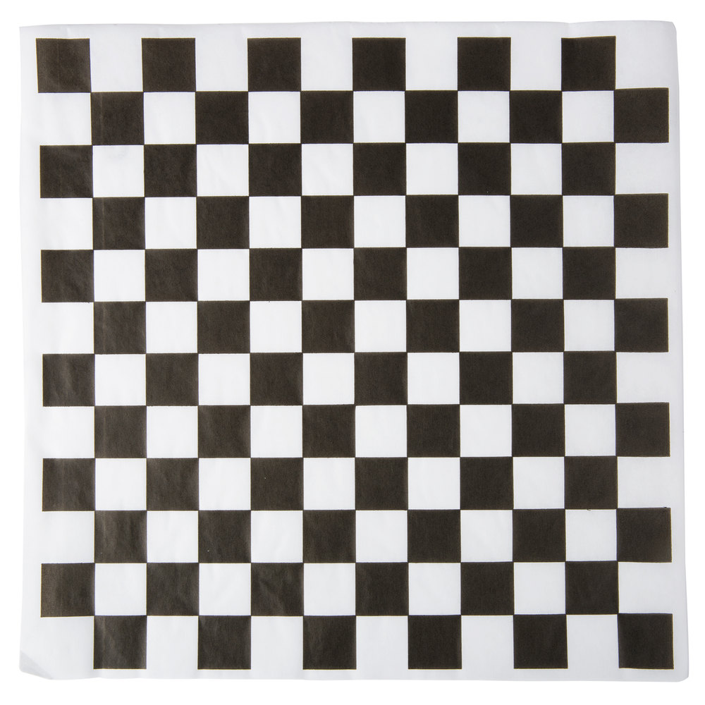 "12"" x 12"" Black Checkered Paper Greaseproof (1000)"