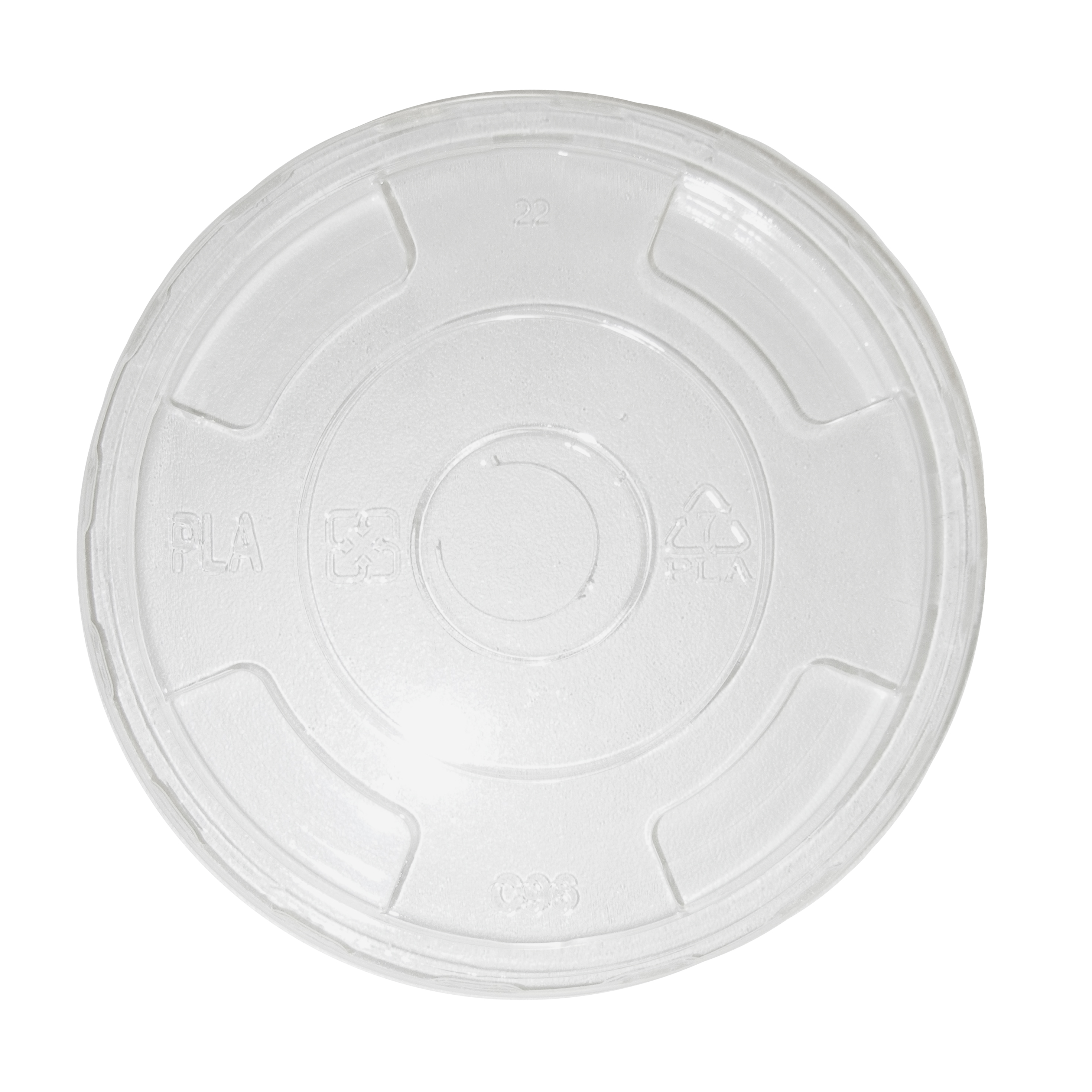 Lid PLA-9Q-24 oz cold  cup,straw hole, clear,