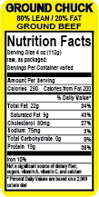 """80/20% Ground Beef"" Label (Roll)"