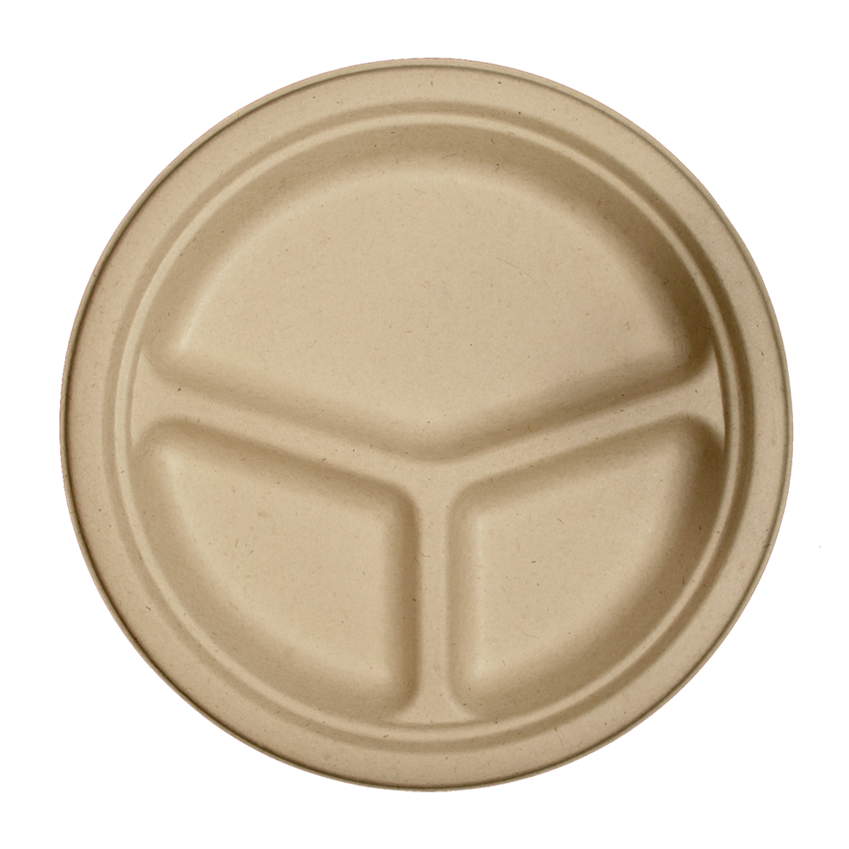 "10"" Three-Compartment Plate Unbleached Fiber-Compostable"