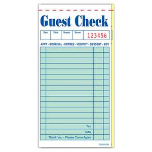 Green Guest Check, 2-Piece Booked w/