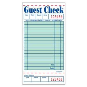 "Guest Check 1-Part with Tab 15 Lines Green 3.5"" x 6.75"""
